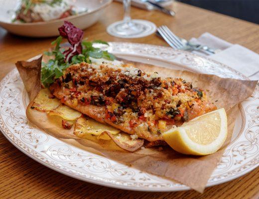 Filetto di trota salmonata in crosta di patate